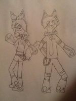 Wolfy and Kitten as Rin and Len by 24Wolfy42