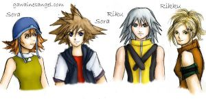 Sora, Sora, Riku, and Rikku by GawainesAngel