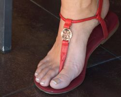 Ela's French Pedi in Red Flat Sandal by Feetatjoes