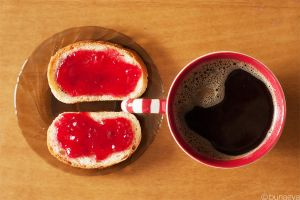280 cranberry jam toast and coffee by Moonnight