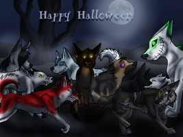 .:Halloween:.  Friends.... by CrazeyWulf