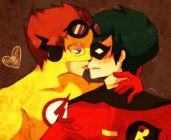 Kid Flash and Robin by Kio-kio