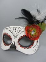 Day of the Dead Orange Spiderweb Leather Mask by maskedzone