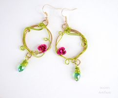 Spring green earrings with little roses by IanirasArtifacts