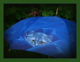 Blue Kitty Umbrella by Loulou13