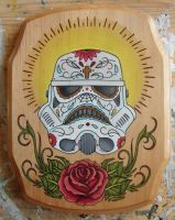 Storm Trooper Sugar Skull by Atropina-Belladonna