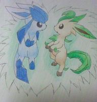 Glaceon and Leafeon 2 by Bluekiss131