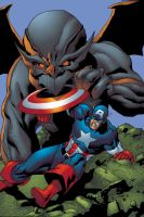 Cap vs Dragon Man by Galon