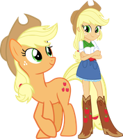 Applejack and Applejack by Vector-Brony