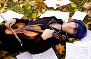 Lying with a violin by bellatrixaiden