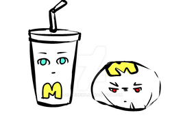 Vanilla Milk Shake vs Chicken Burger (?) by App1eNeko
