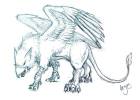 Gryphon lineart by Aeyze