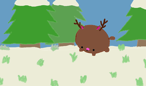 Little Reindeer in Snowy Forest by Pikoshell