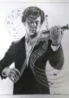 Sherlock with violin by Galinaxsim