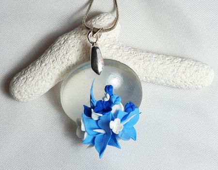 Transparent Glass-Like Clay Pendant - Blue Flowers by Somnambula81