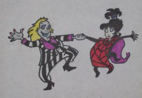 Beetlejuice and Lydia (old drawing) by TinyAna