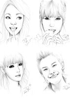 Kpop Pencil Sketches by takojojo15