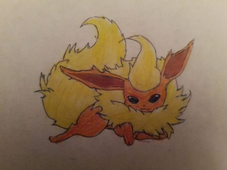 Fluffy Flareon by TheBlindPegasus