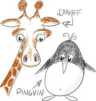 Giraffe and pinguin. by efish