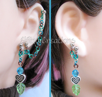 Blue, Brown, Green Leaf Cartilage Chain Earrings by merigreenleaf