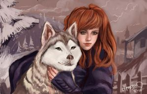 A Girl and Her wolf - Speed painting by JPerezS