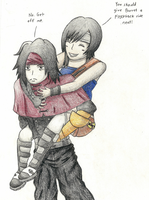 Vincent gives Yuffie a Piggyback Ride by FizzyBubbles