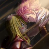 natsu and lucy by Atom999