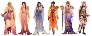 Art Nouveau Redesigns: Final Fantasy Girls by Hannah-Alexander