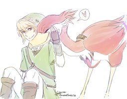 TLOZ:SS - Link and his Loftwing by Rika-Wawa