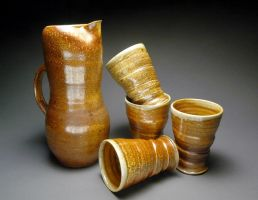Wood Fired Pitcher Set by YuishCeramics