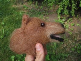 Buzz the Grizzley Bear - Needle Felt Finger Puppet by RRedolfi