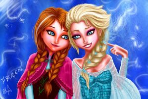 Anna and Elsa Fan Art by Phoenixboy