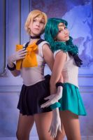 Sailor Uranus, Sailor Neptune by Dyonya