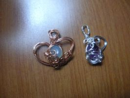 heart wire wrapped blue agate and water amethyst by Wolf-Lady-bsparks85