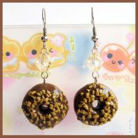 Choco and Nuts Donuts Earrings by cherryboop