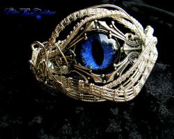 Wire Wrapped Dragon Eye Bracelet - Blue Silver by LadyPirotessa