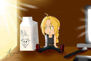 :CE: Ed plush with milk by Amy-Oh