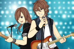 Dipper and Mabel- rock stars version by LuzzAzul