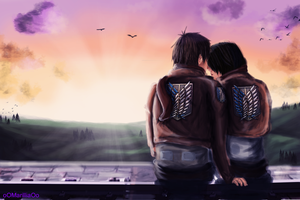 [Mikasa x Eren] when the sun goes down.. by xXMarilliaXx