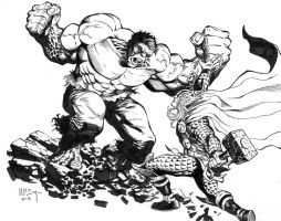Thor Vs. Hulk Commission by PatrickMcEvoy