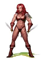 Red Sonya final by LovBlondGirlMuscled
