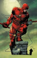 Daredevil pinup over David Finch by lebeau37