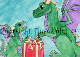 For Me Christmas Dragons ACEO by The-GoblinQueen