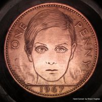 Hand Engraved Penny Twiggy 1960's Icon by shaun750
