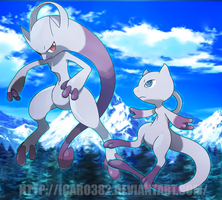 Mega Mewtwo Y and Mega Mew by icaro382