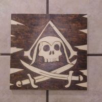 Wood-burned assassin's pirate flag by chui92