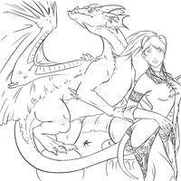 WoW - Draenei and Dragon by Terralynde