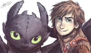 HTTYD2 - Hiccup and Toothless - Sai by mangarainbow