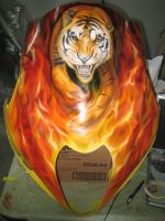 busa fairing airbrushed fire and tiger by Jonny5nLala