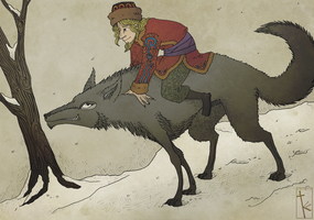 Ivan Tsarevich and the wolf by K-Zlovetch